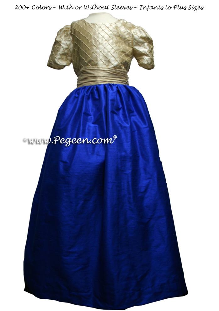 TAWNY GOLD and INDIGO BLUE silk FLOWER GIRL DRESSES