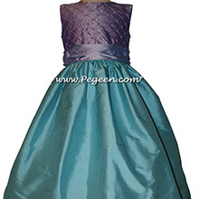 Pintuck and pearl silk custom flower girl dresses in lavender and bahama breeze aqua