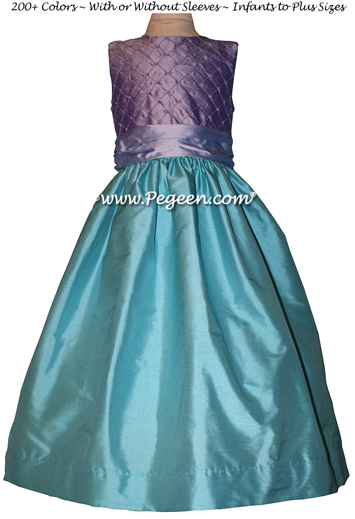 Flower girl dresses Bahama Breeze and Lavender Style 409 | Pegeen