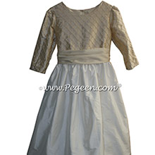 Antique White and Tawny Gold with 3/4 Sleeves Flower Girl Dress Style 409