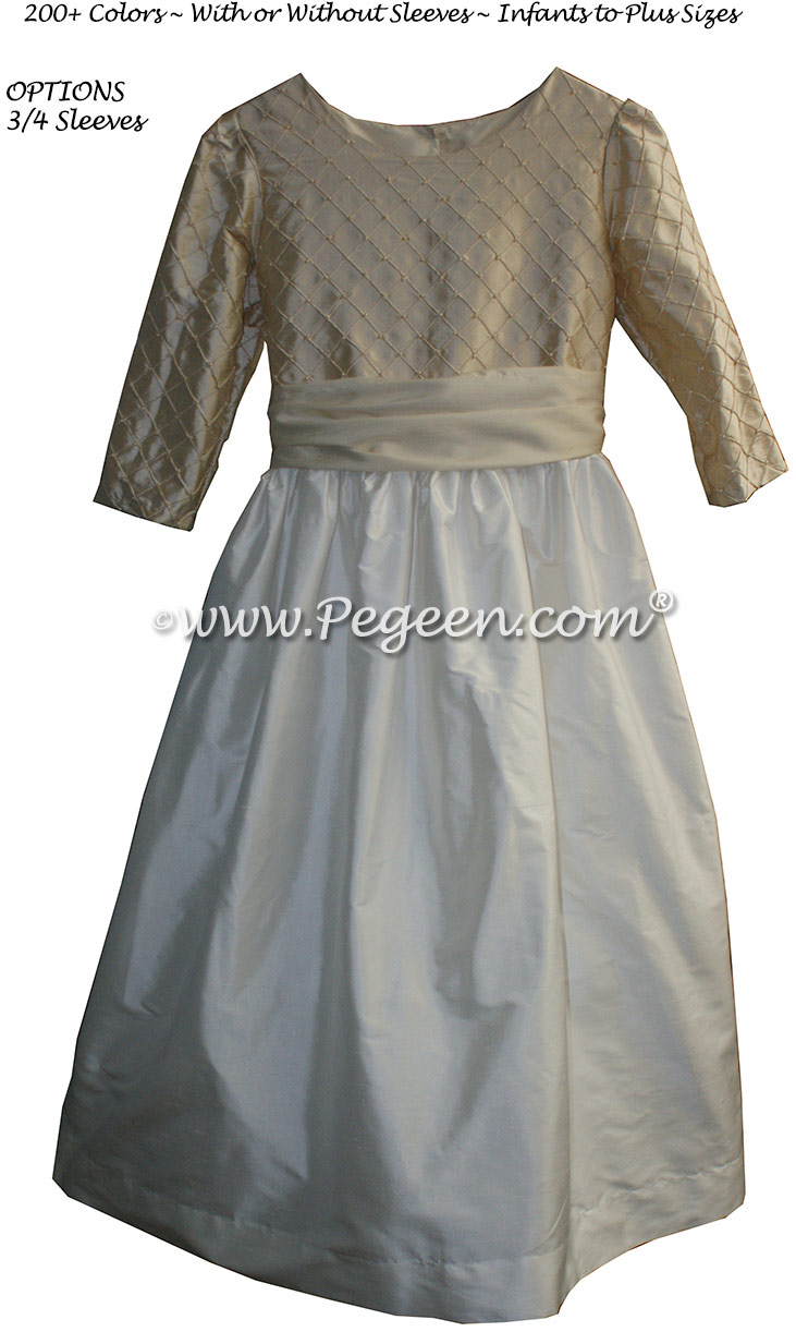 Antique White and Tawny Gold with 3/4 Sleeves Flower Girl Dress silk flower girl dresses