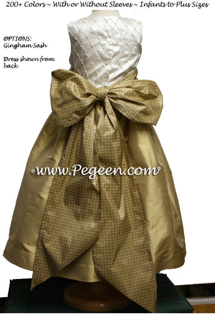 Pure Gold and ivory silk Flower Girl Dress Style 409