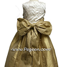 Pure Gold and Ivory silk flower girl dresses