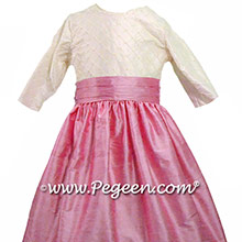 Rose Pink custom flower girl dresses with pearls and pin tuck silk bodice - PEGEEN Style 409