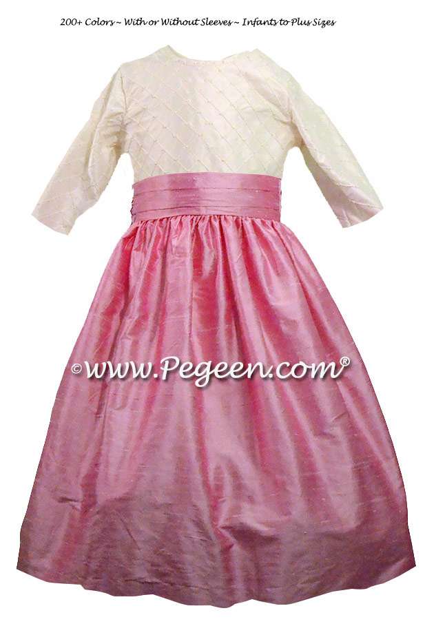 Antique White and Rose Pink flower girl dress Style 409 with 3/4 Sleeves