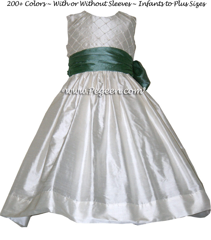 WATERFALL (TEAL) AND ANTIQUE WHITE CUSTOM FLOWER GIRL DRESSES with pin tuck silk bodice