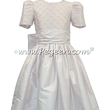 White Silk First Communion dress with pin tucks and pearls Style 409