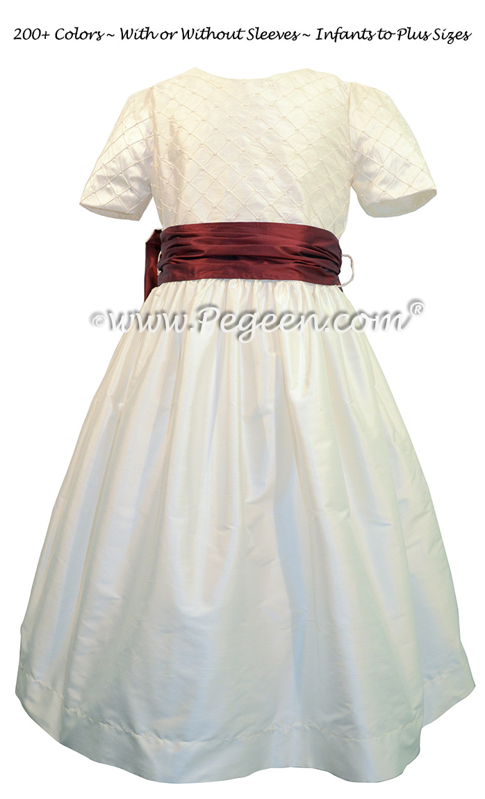 Antique White And Ruby Silk Flower Girl Dress Pegeen