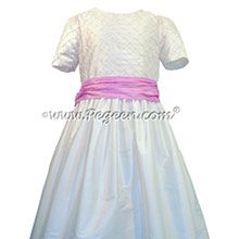 Antique White and Rose Pink Flower Girl Dress Style 409