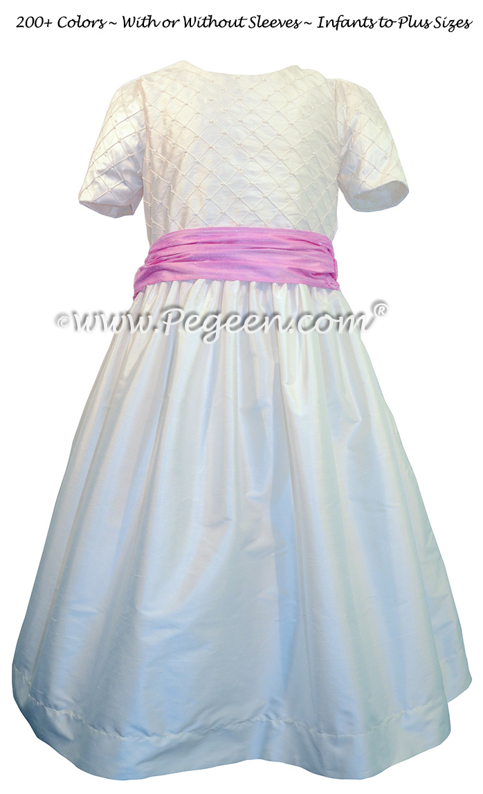 Antique White and Rose Pink Flower Girl Dress silk flower girl dresses