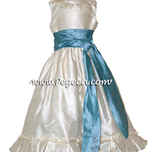 adriatic (aqua) and ivory creme CUSTOM Flower Girl Dresses WITH BOX PLEATING