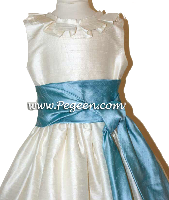 ADRIATIC AQUA AND IVORY CUSTOM FLOWER GIRL DRESSES WITH BOX PLEATING