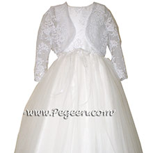 White communion dress with Pegeen Signature Bow in silk and tulle