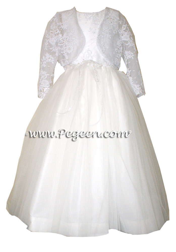 ALONCON LACE CUSTOM FLOWER FIRST COMMUNION DRESS WITH TULLE