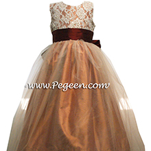 salmon flame and cranberry flower girl dresses