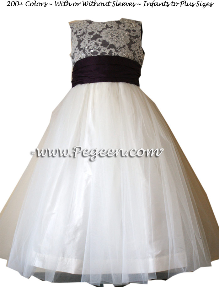 1000 NIGHTS (DEEP PURPLE) AND NEW IVORY ALONCON LACE CUSTOM FLOWER GIRL DRESSES WITH TULLE