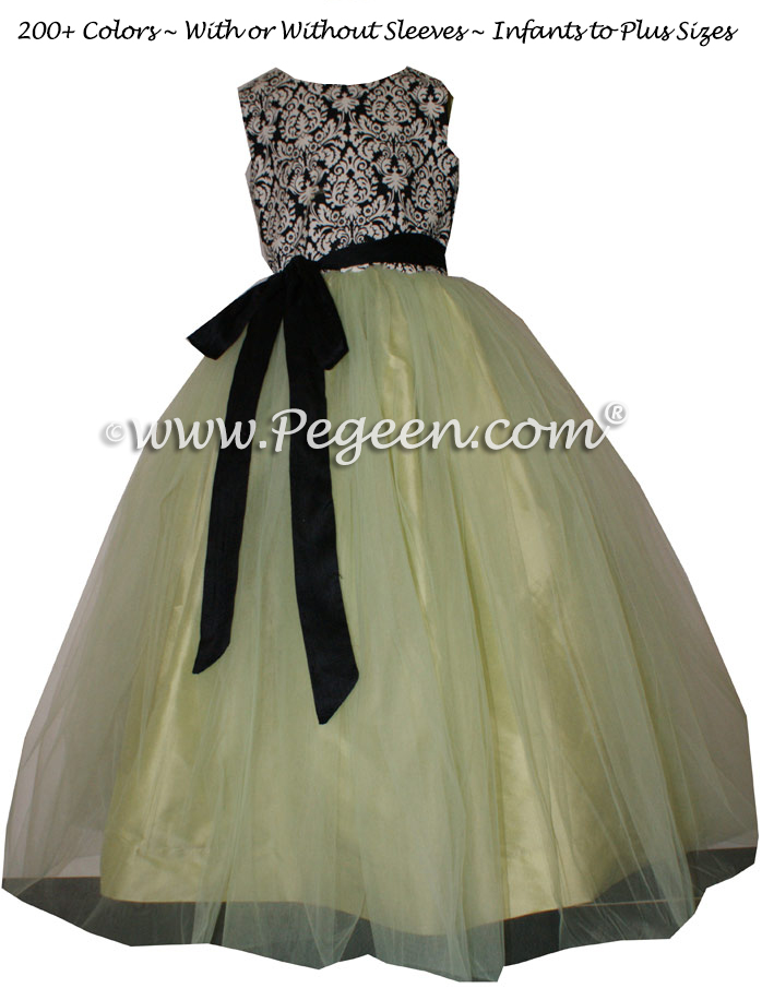 BLACK AND WHITE DAMASK WITH CITRUS  CUSTOM FLOWER GIRL DRESSES WITH TULLE