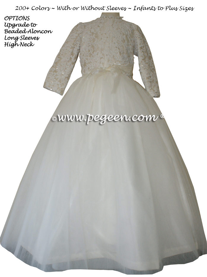 Bisque ALONCON LACE CUSTOM FLOWER GIRL DRESSES WITH TULLE