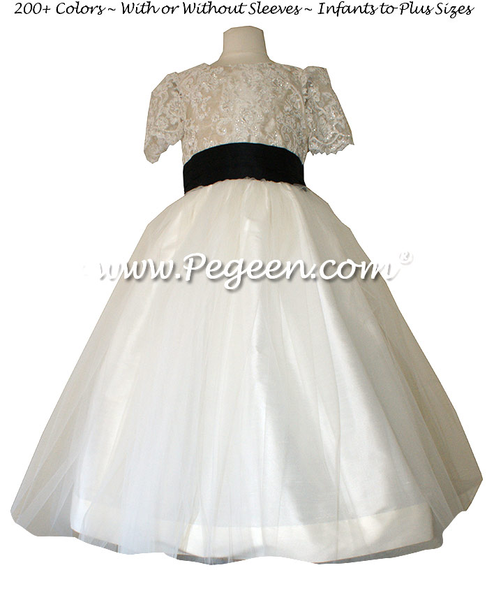 FLOWER GIRL DRESSES with Black and Wheat with Aloncon Lace