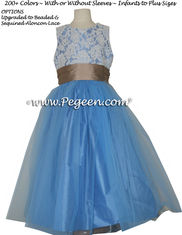 BLUE MOON AND ANTIGUA TAUPE ALONCON LACE CUSTOM FLOWER GIRL DRESSES WITH TULLE
