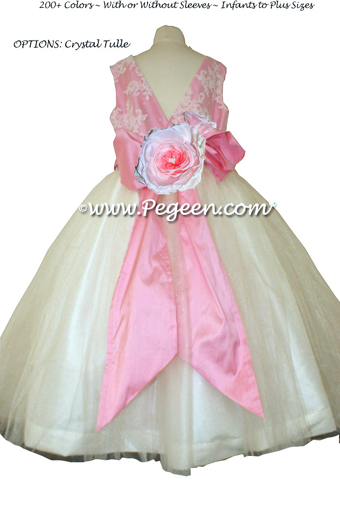 Flower Girl Dress with Tulle and Beaded Aloncon Lace in White and Bubblegum Pink | Pegeen