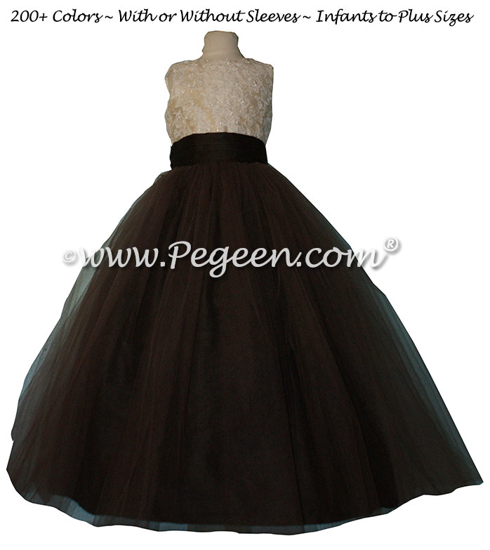 Spun Gold and Chocolate Brown ALONCON LACE CUSTOM FLOWER GIRL DRESSES WITH TULLE