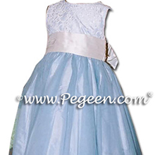 CLOUD BLUE AND BISQUE flower girl dresses