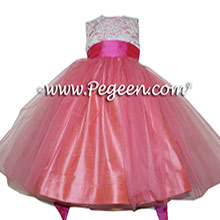CORAL ROSE AND SHOCK PINK silk and aloncon lace with tulle flower girl dress by Pegeen
