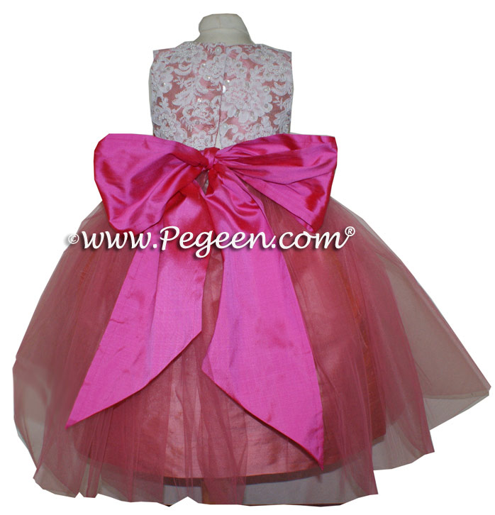 CORAL ROSE AND SHOCK PINK ALONCON LACE CUSTOM FLOWER GIRL DRESSES WITH TULLE