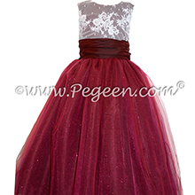 Cranberry Tulle and beaded aloncon lace Flower girl dress - Pegeen Couture Style 402
