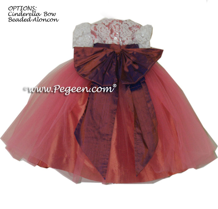 Coral and purple (raisin) tulle flower girl dress Style 413