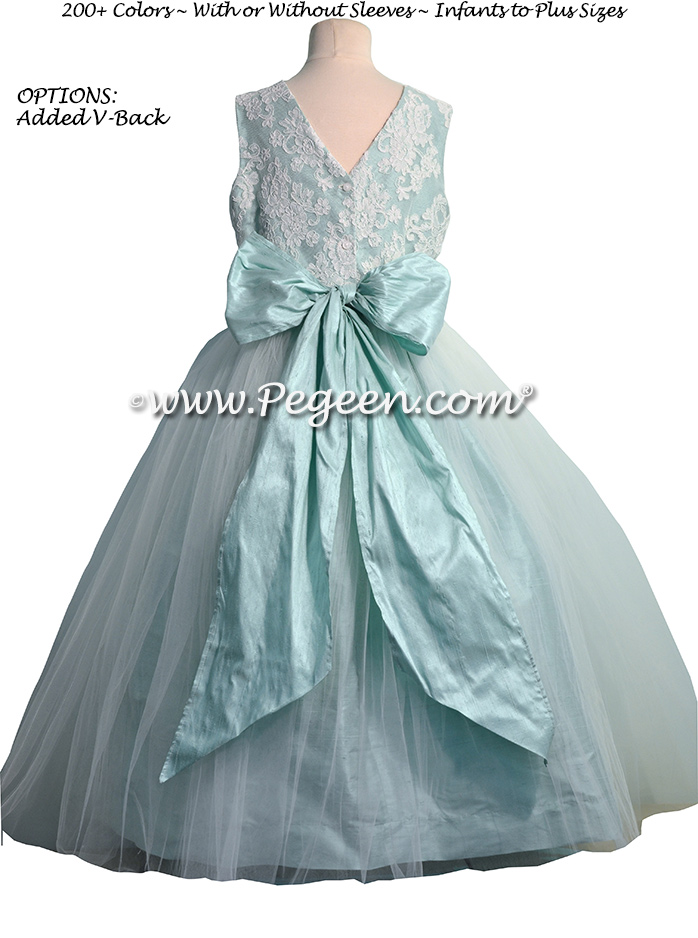 Aqua Silk and Aloncon Lace Tulle Flower Girl Dresses | Pegeen