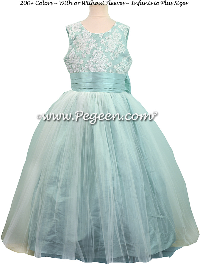 Pacific (light aqua) ALONCON LACE CUSTOM FLOWER GIRL DRESSES WITH TULLE