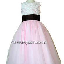 PETAL PINK SILK TULLE FLOWER GIRL DRESSES with beaded and sequined aloncon lace with layers and layers of tulle