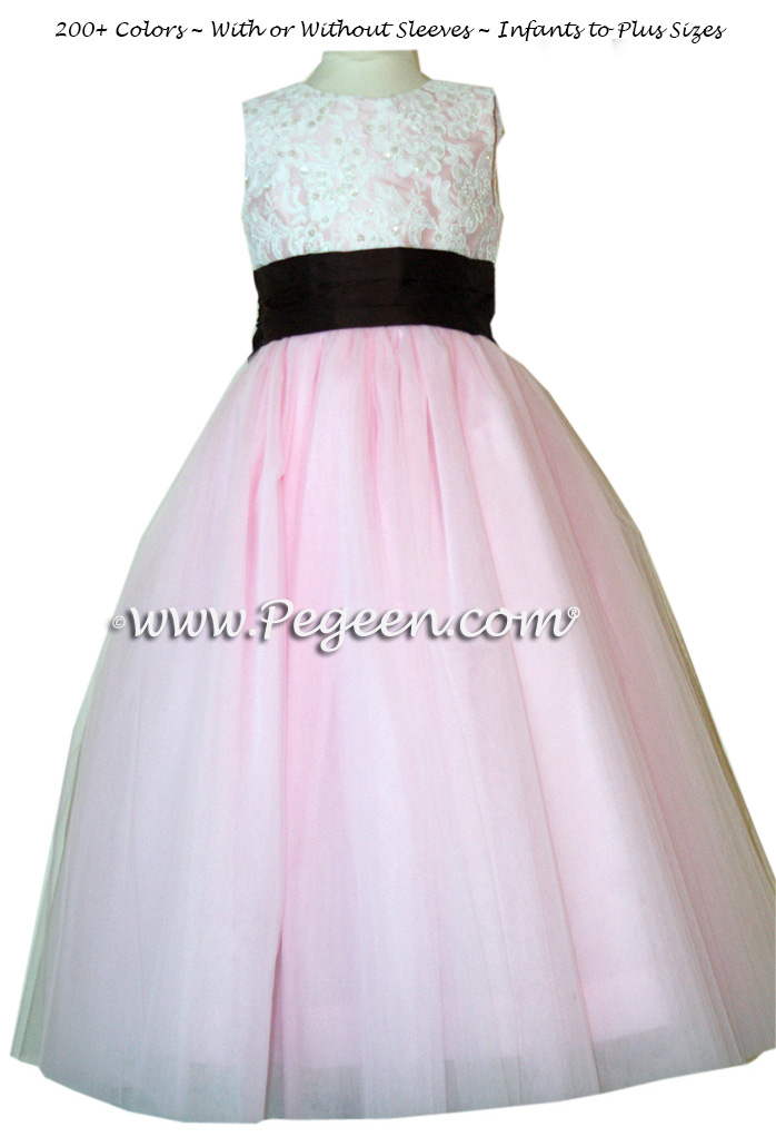 PEONY PINKALONCON LACE CUSTOM FLOWER GIRL DRESSES WITH TULLE