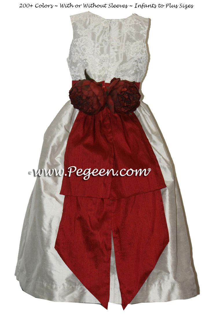 PLATINUM SILVER AND CRANBERRY RED SILK WITH ALONCON LACE CUSTOM FLOWER GIRL DRESSES