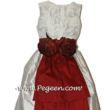 platinum silver and cranberry red flower girl dresses with aloncon lace