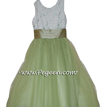 SAGE GREEN SILK TULLE FLOWER GIRL DRESSES with beaded and sequined aloncon lace with layers and layers of tulle