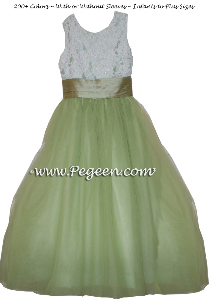 SUMMER GREEN AND SAGE tulle junior bridesmaids dress