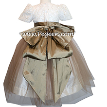 SESAME SILK AND NEW IVORY French Aloncon Lace and tulle junior bridesmaids dress