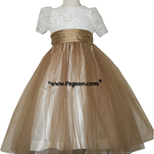 SESAME (LIGHT BRONZE-GOLD) IVORY AND TULLE SILK FLOWER GIRL DRESSES