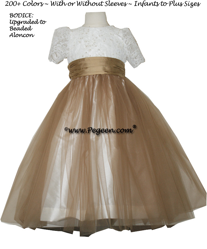 SESAME (LIGHT BRONZE) AND NEW IVORY ALONCON LACE CUSTOM FLOWER GIRL DRESSES WITH TULLE
