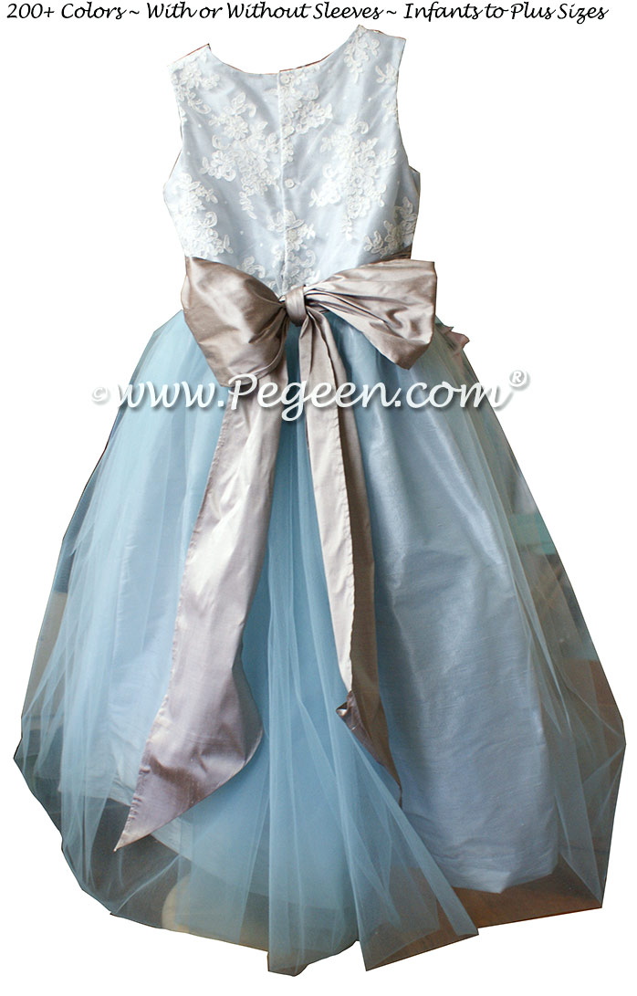 Steele Blue and Wolf Gray ALONCON LACE CUSTOM FLOWER GIRL DRESSES WITH TULLE