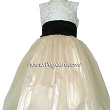 BLACK AND SUMMER TAN WITH IVORY TULLE and beaded aloncon lace Flower girl dress