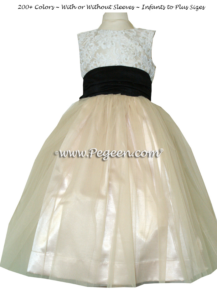 BLACK AND SUMMER TAN WITH IVORY CUSTOM FLOWER GIRL DRESSES WITH TULLE