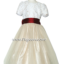 gold and red tulle and aloncon lace silk flower girl dresses