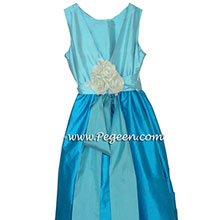 TOURQUOISE AND BAHAMA BREEZE CUSTOM Flower Girl Dresses