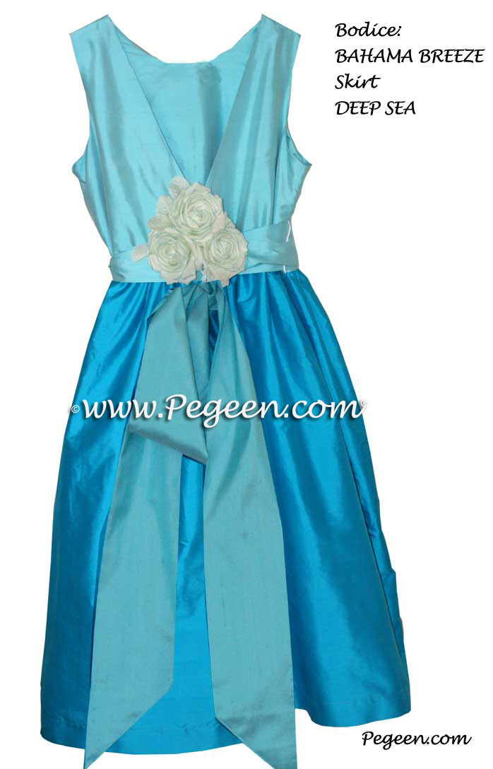 Flower girl dress in bahama breeze, deep sea, aqua colors Style 419 | Pegeen