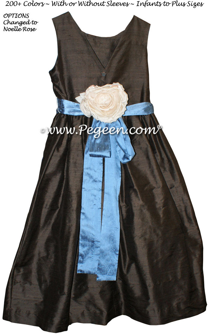 Flower girl dress in chocolate brown and arial blue Style 419 | Pegeen