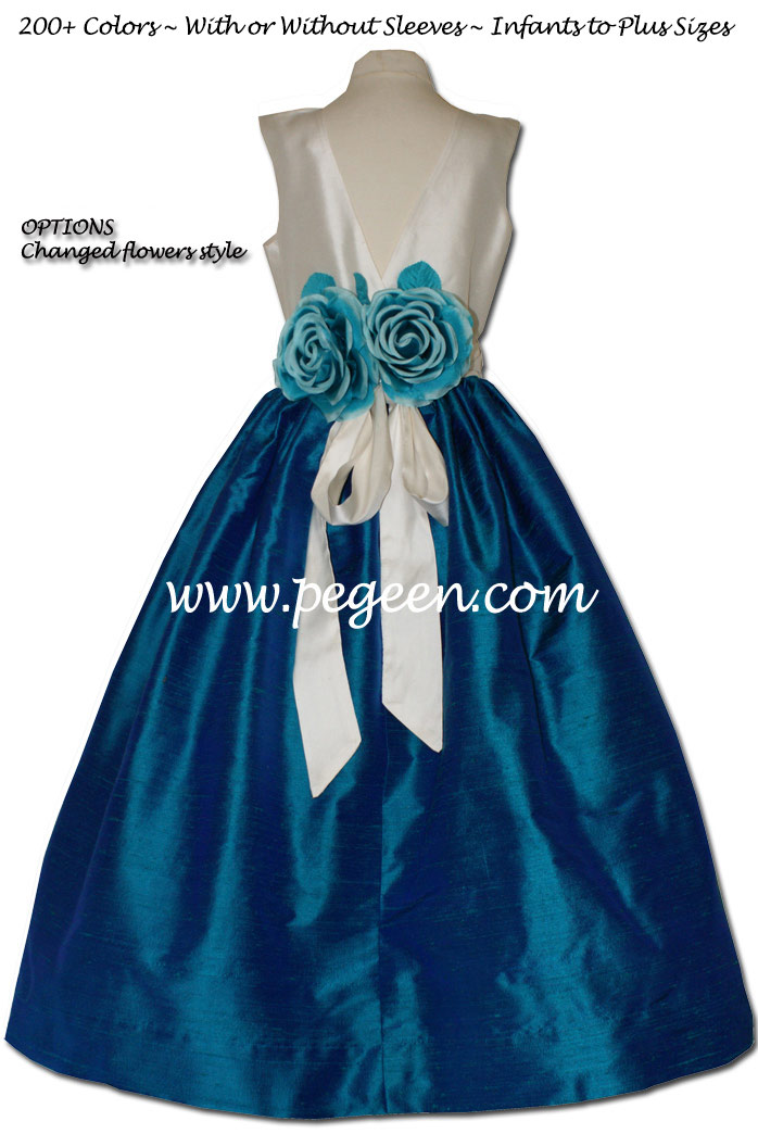 Silk flower girl dresses in shades of Dark Cyan and Bisque Style 419